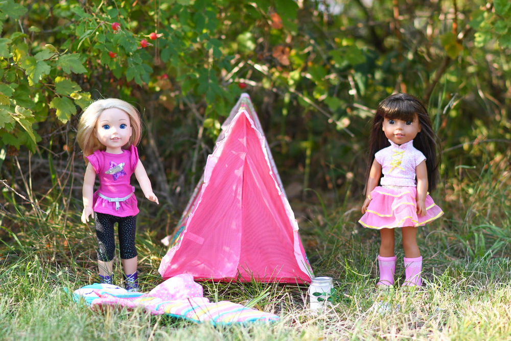 American Girl WellieWishers camping set Ashlyn and Camille