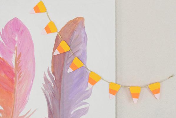 Super Cute DIY Candy Corn Pennant Banner