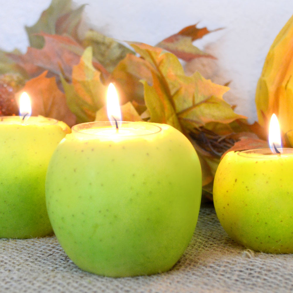 DIY apple candles are a gorgeous accent for a holiday table