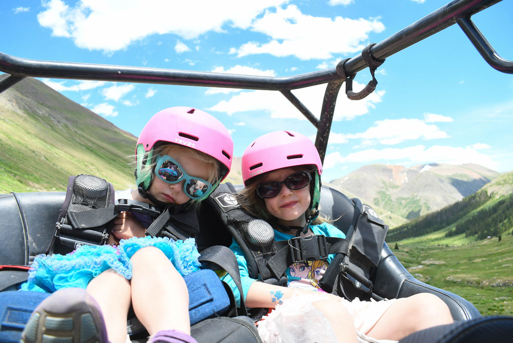 safety first when riding with kids - helmets, sunglasses, harnesses and seat belts.