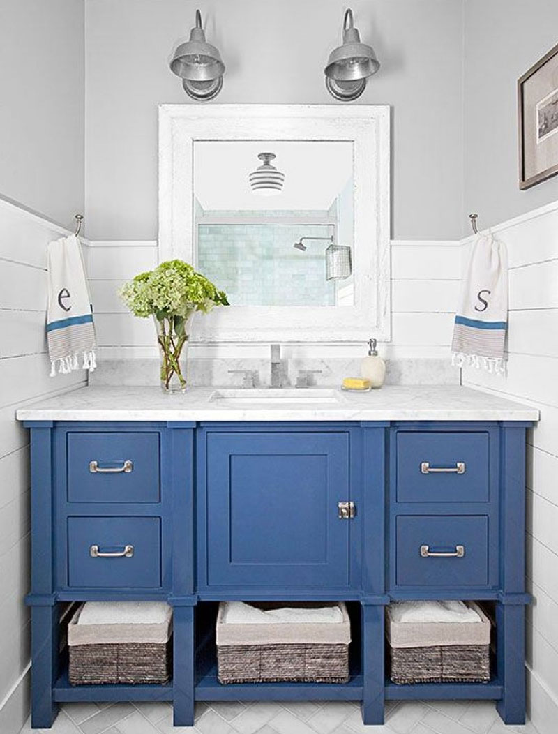 Paint your Bathroom Vanity an Accent Color