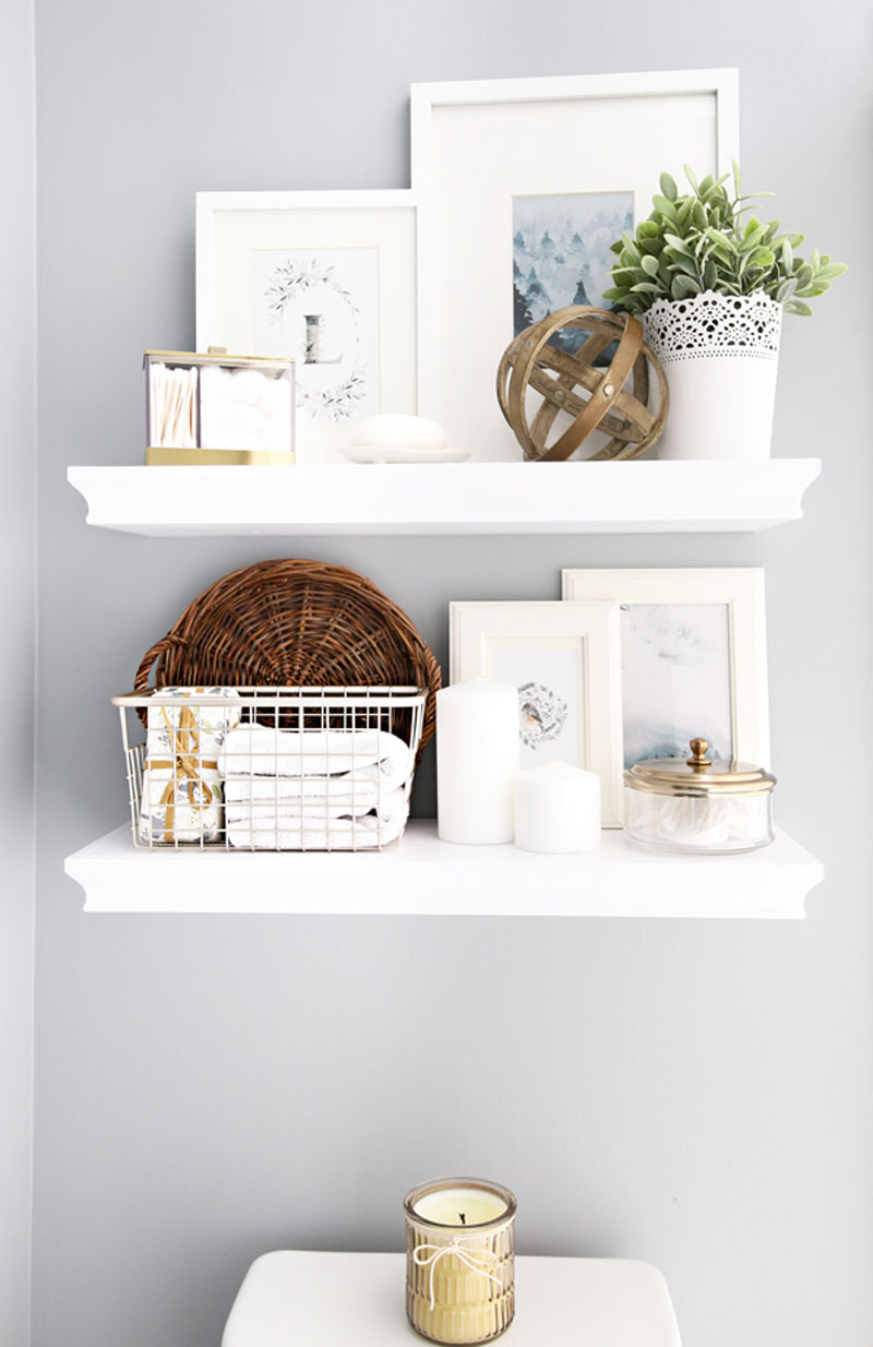 Decorate Your Bathroom - Add Decorative Storage with Floating Shelves