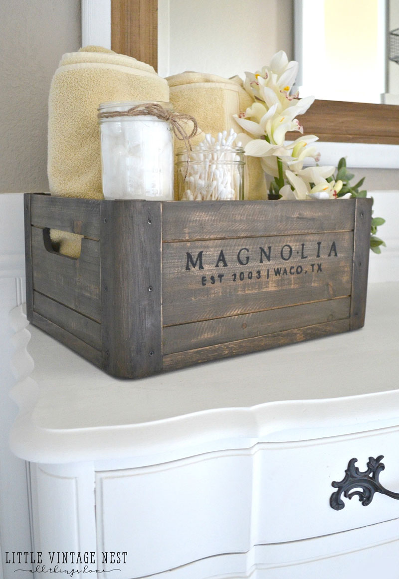 Organize your Bathroom Vanity with a Wooden Crate
