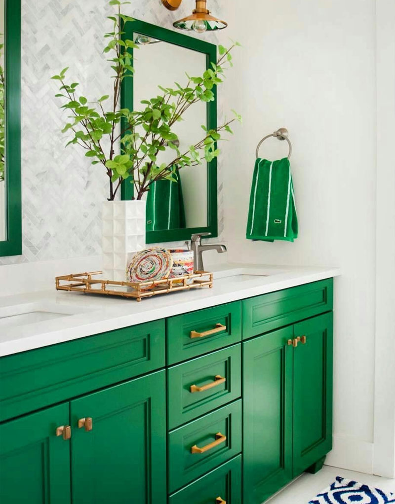Decorate your bathroom Regal green bathroom vanity accent color