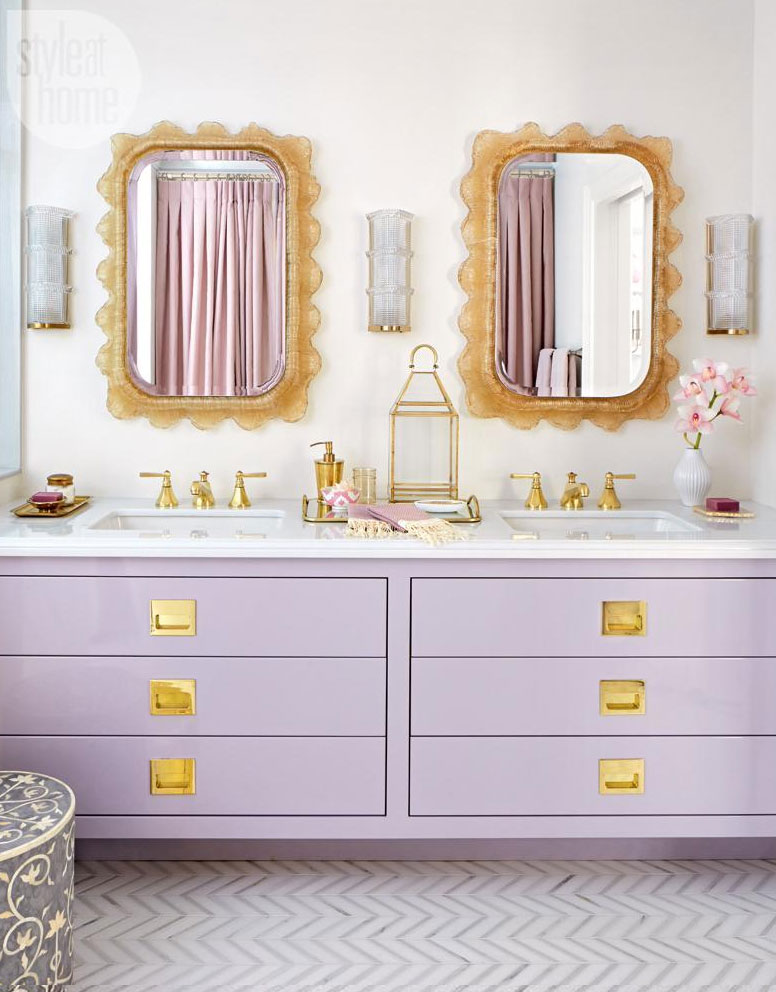 Decorate with a modern lavender and gold bathroom vanity