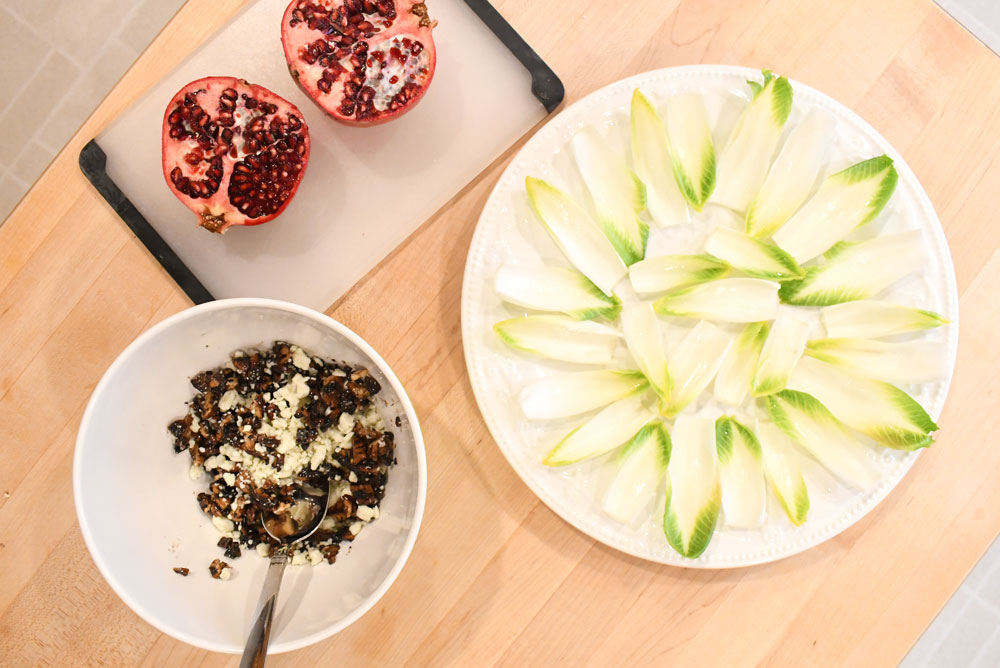 Gourmet ingredients for Endive Blue Cheese Pomegranate Bites