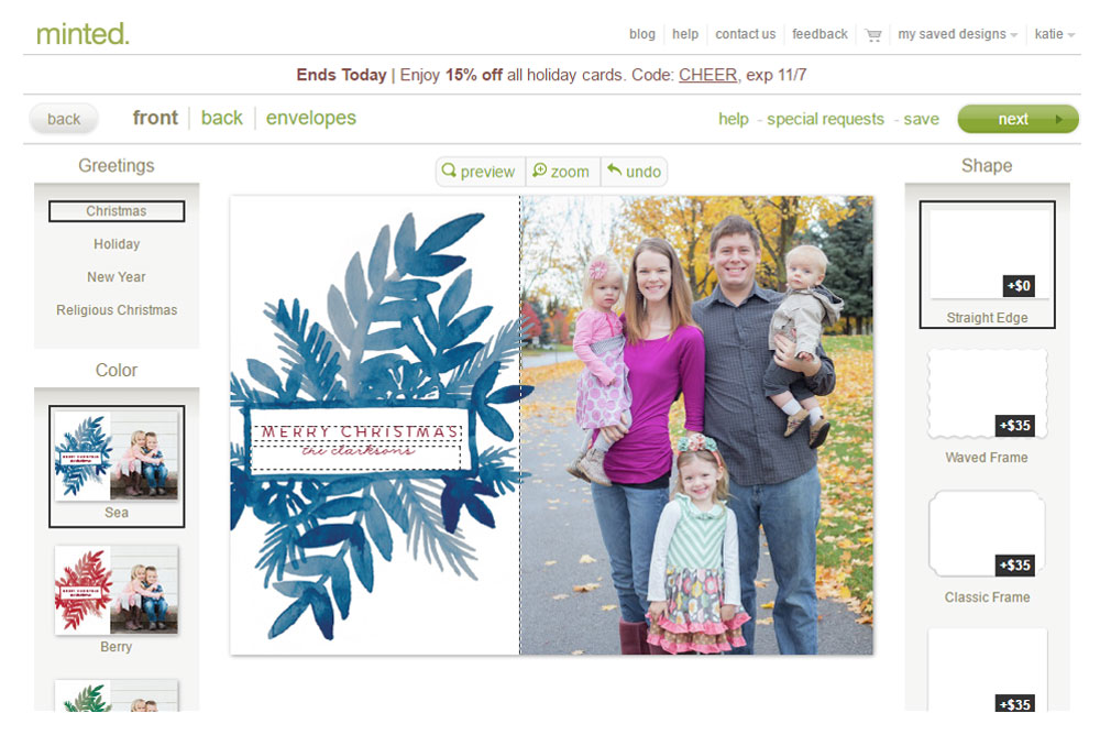 Minted holiday cards are easy to customize and order
