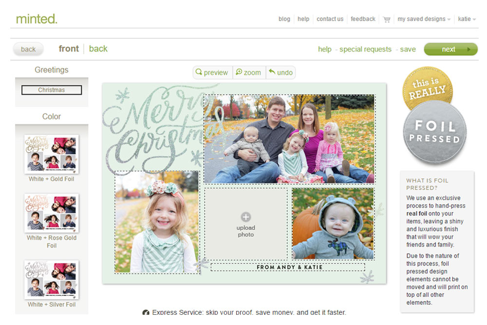 Minted customizable family photo cards