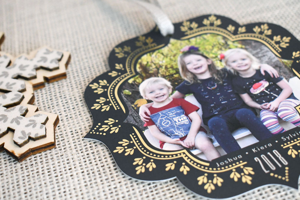Foil-Pressed Holiday Ornament Cards from Minted