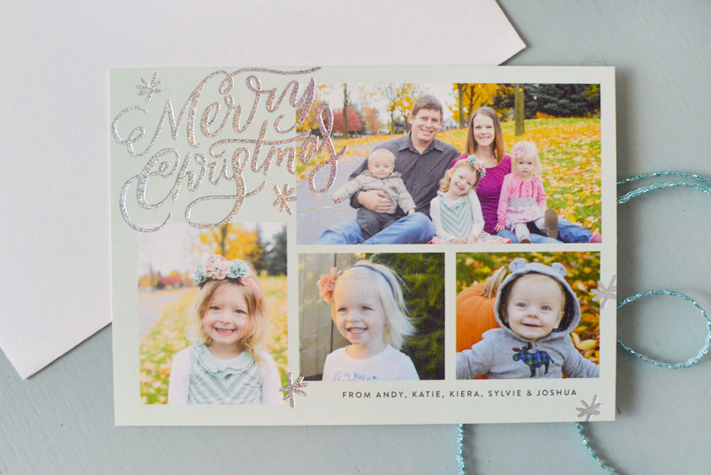 Minted personalized holiday foil-pressed photo cards