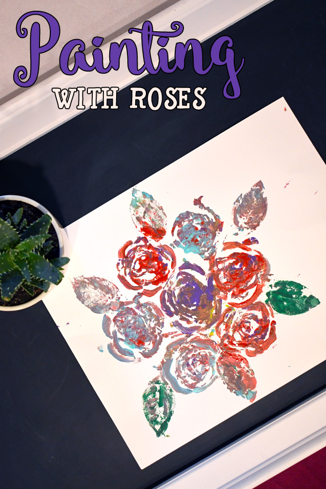 Painting with roses creative art technique