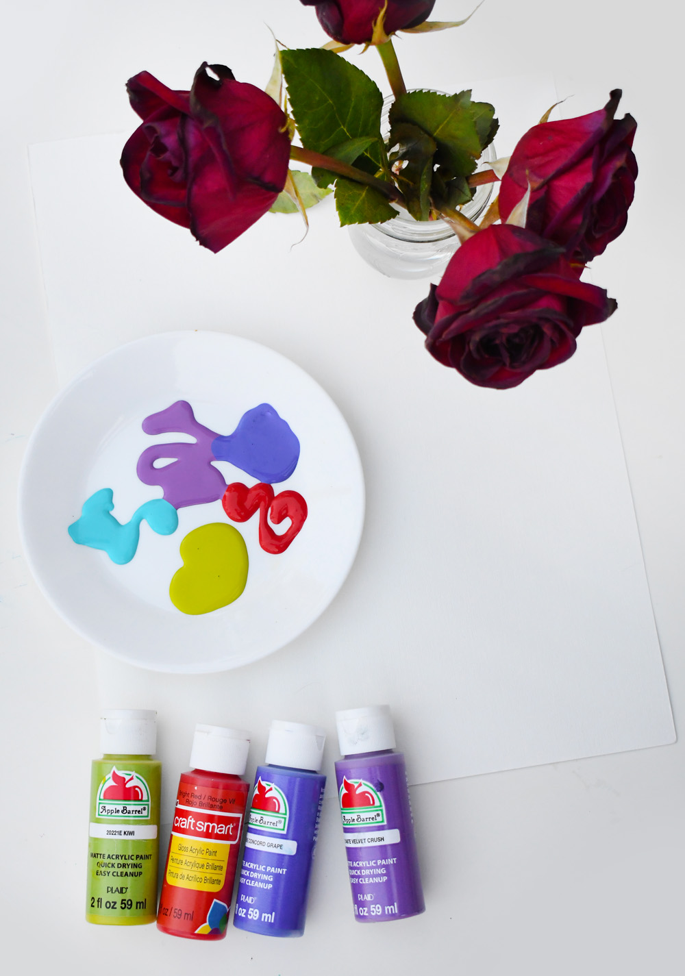 Creative painting with roses art project