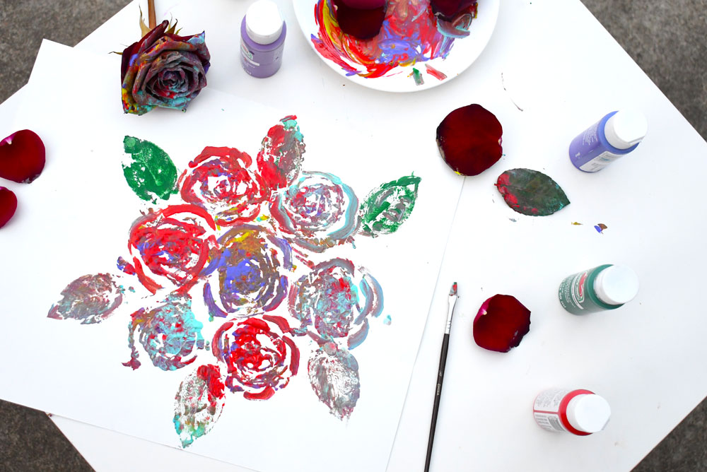 Creative painting with roses art technique