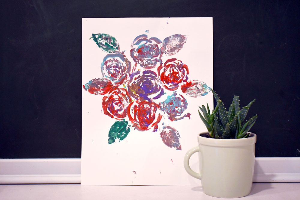 Artsy DIY painting with roses creative project