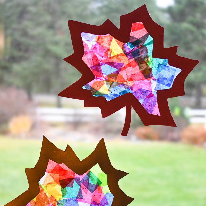 Stained Glass Tissue Paper Leaf Sun Catchers
