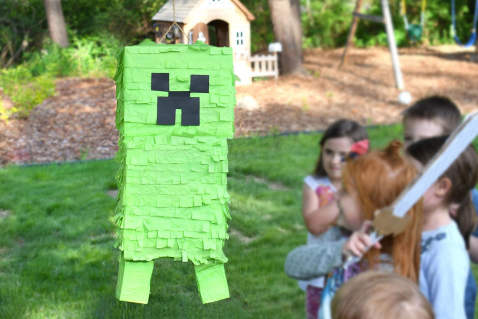 Kids minecraft party ideas creeper pinata