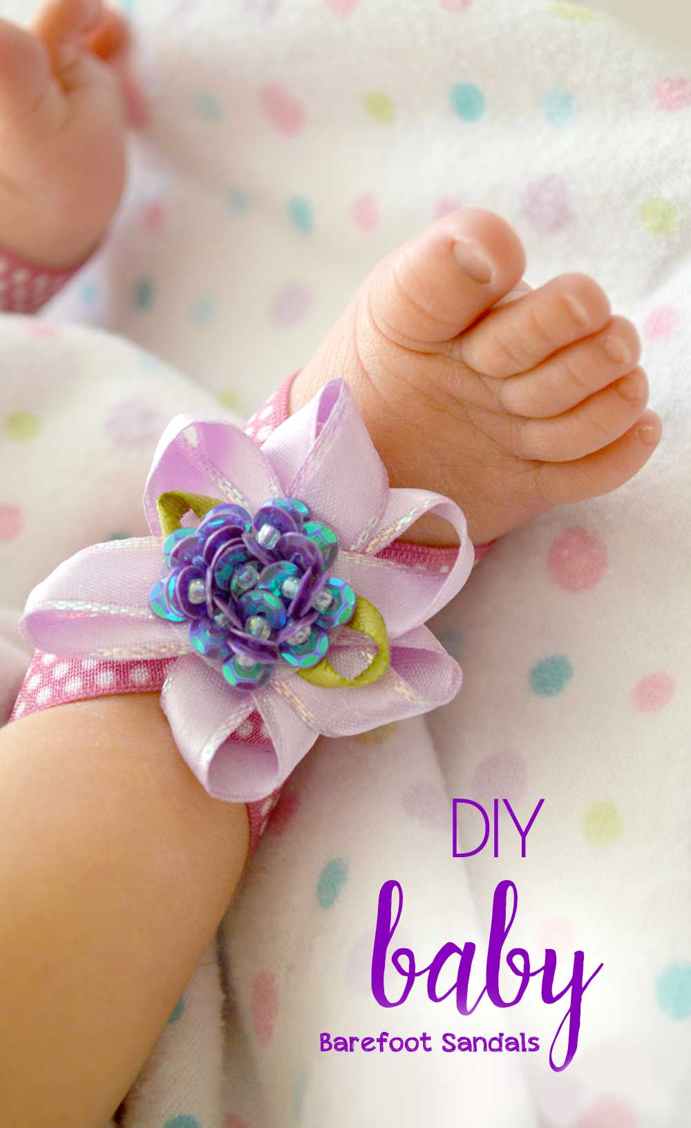 How to make baby foot flower barefoot sandals craft project