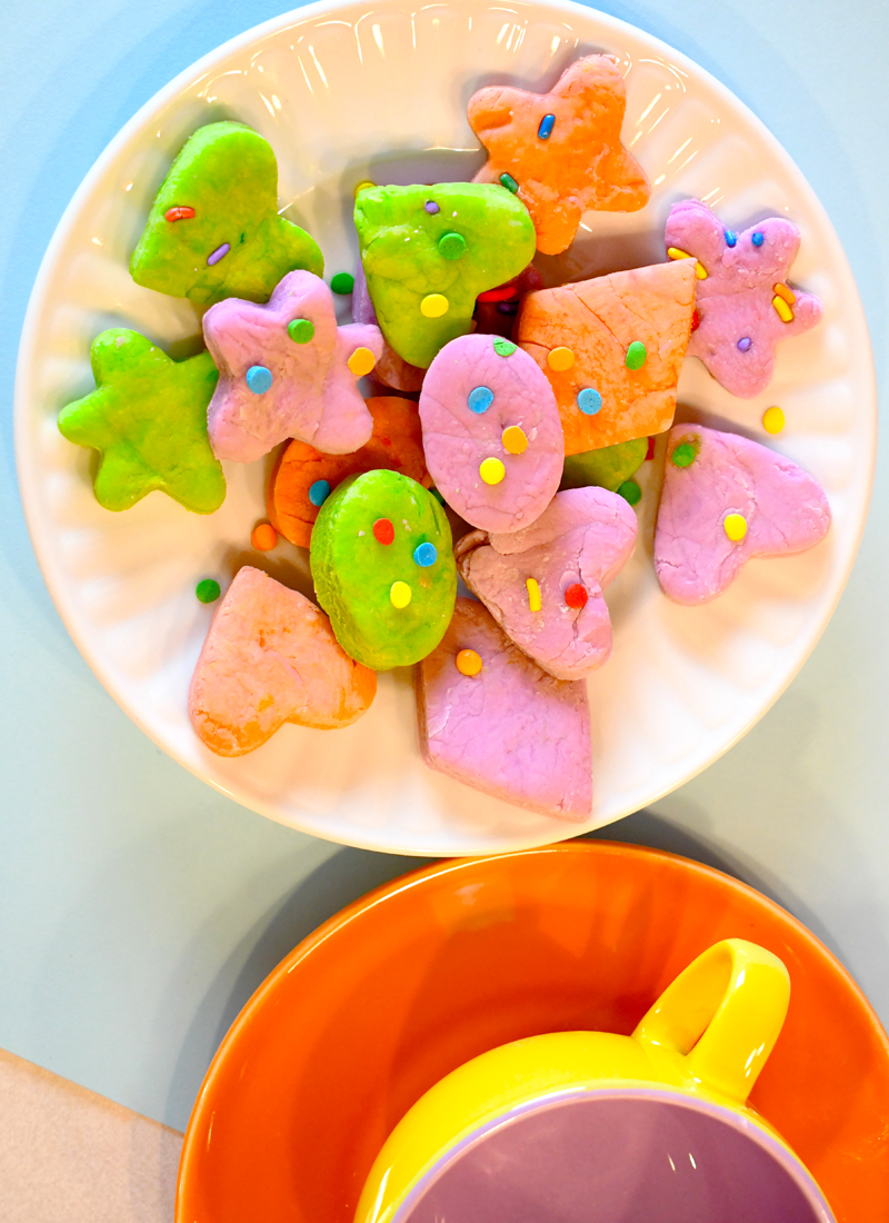 Marshmallow play dough cookies decorated with sprinkles creative kids project