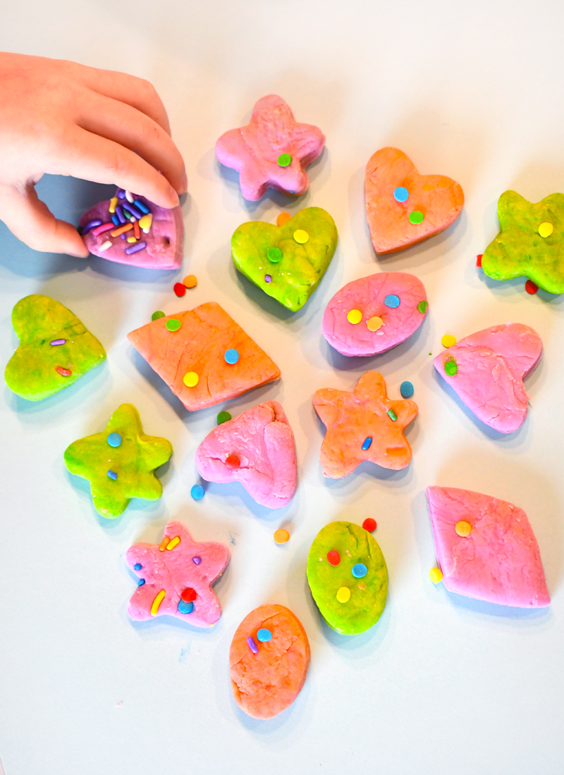 Marshmallow play dough cookies decorated with sprinkles