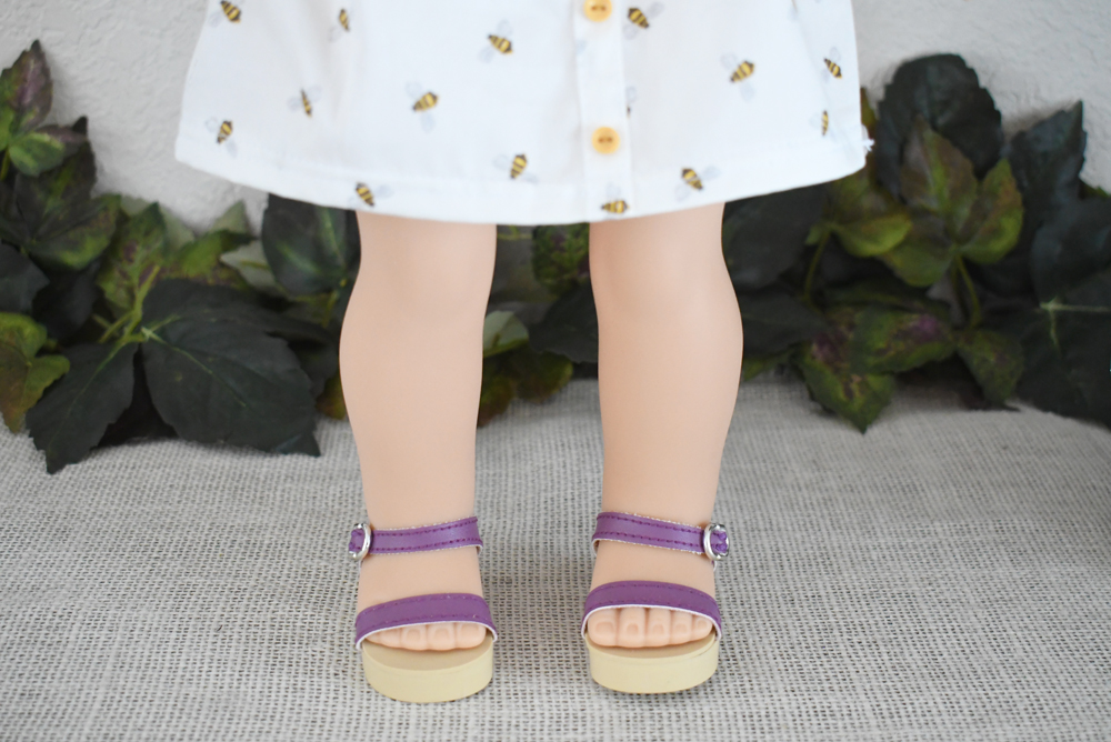 American Girl's 2019 girl of the year Blaire Wilson wears purple sandals
