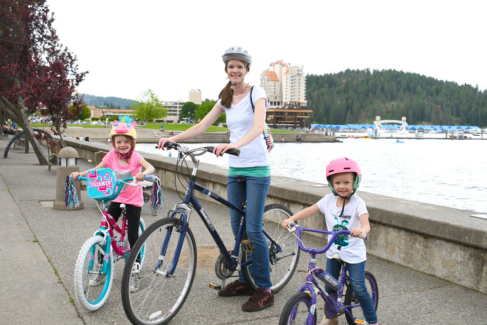 Downtown Coeur d'Alene bike trails family activity with kids