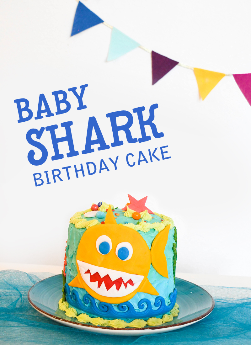 Colorful DIY baby shark birthday cake for kids