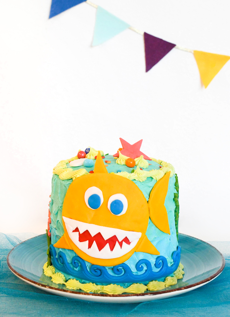 DIY Baby Shark Birthday Cake Cute Kids Party Idea