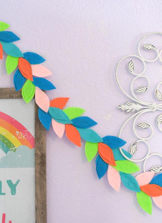 Rainbow Felt Leaf Garland DIY Decor
