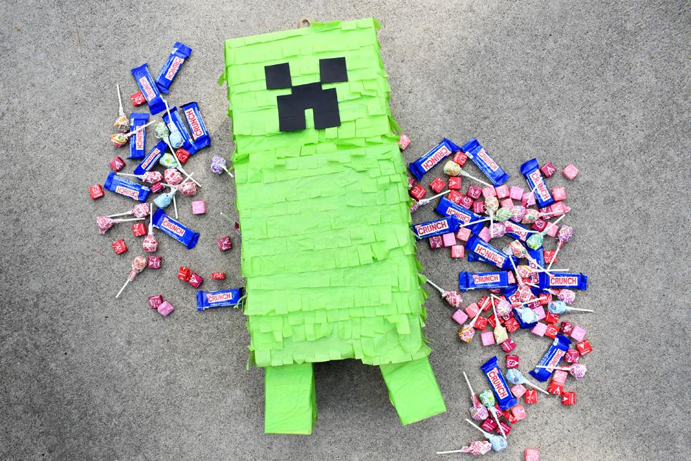 Make a Minecraft Creeper Pinata using cardboard boxes