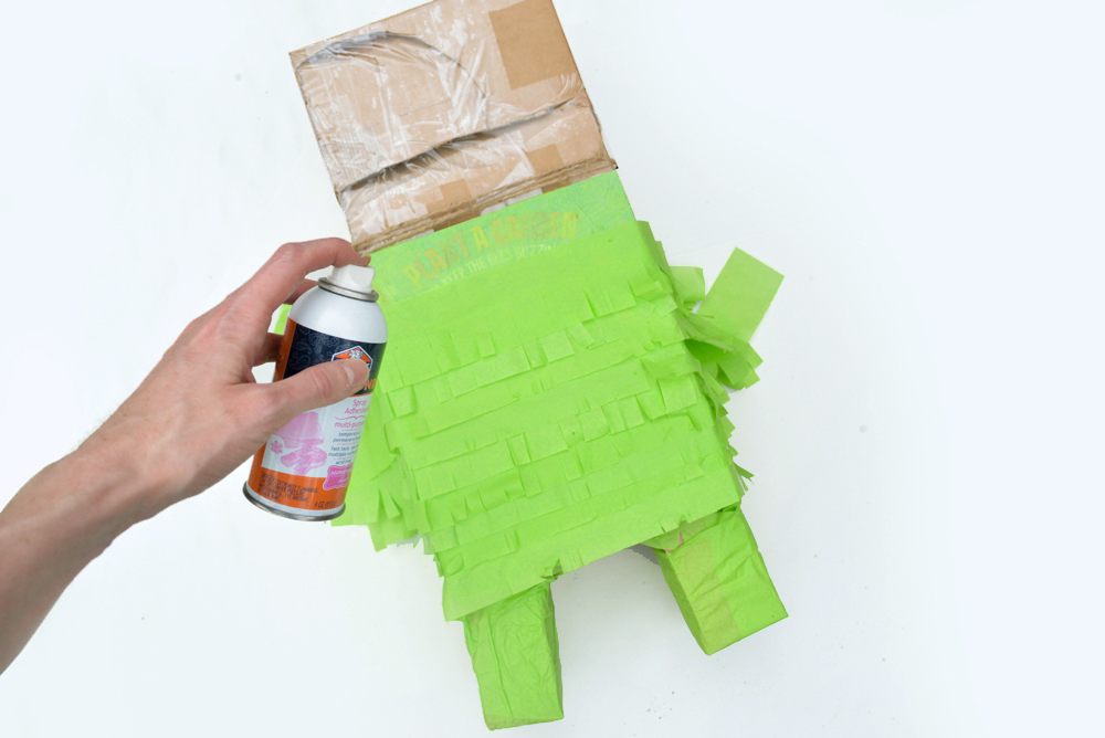 Design a Minecraft Creeper Pinata using fringed tissue paper