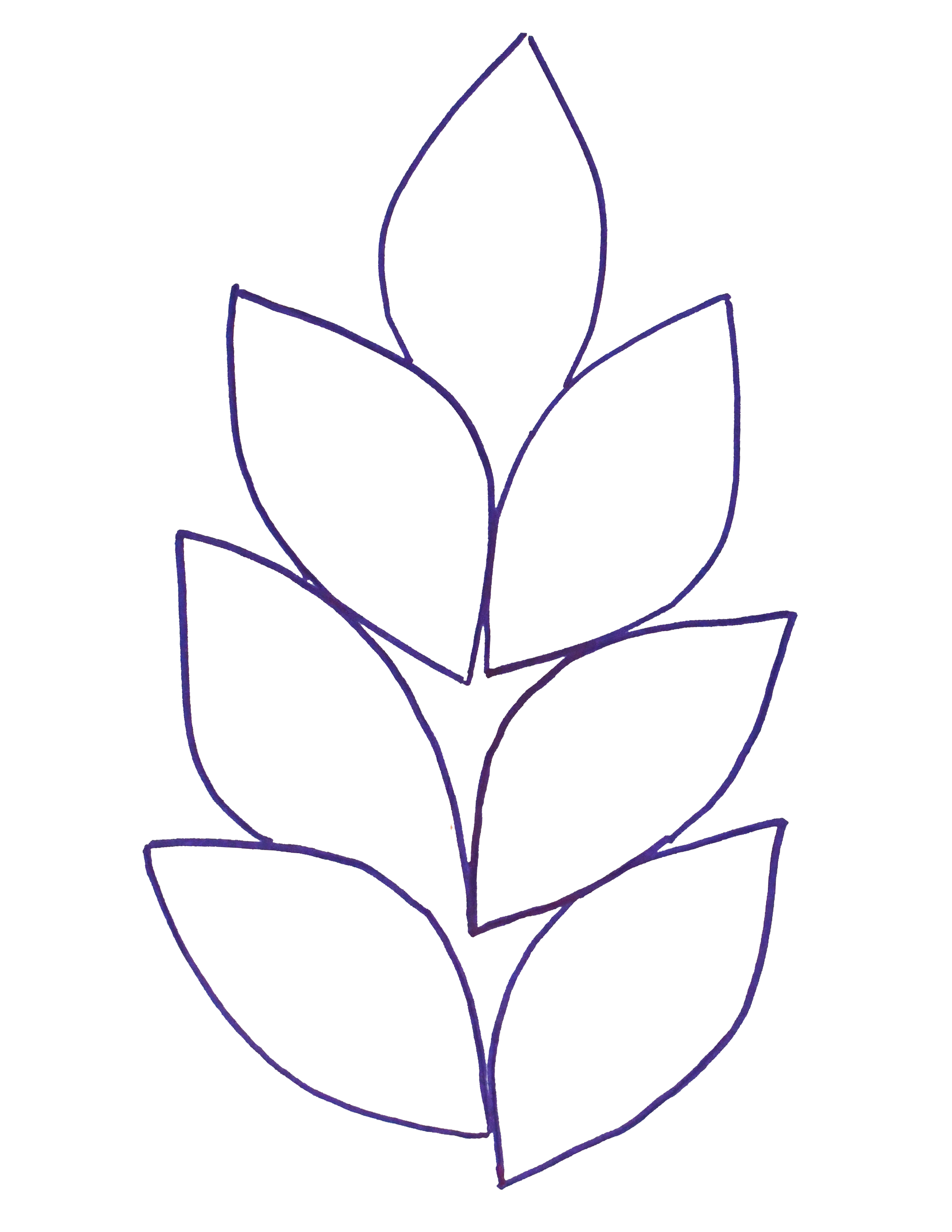 Felt leaf garland printable template