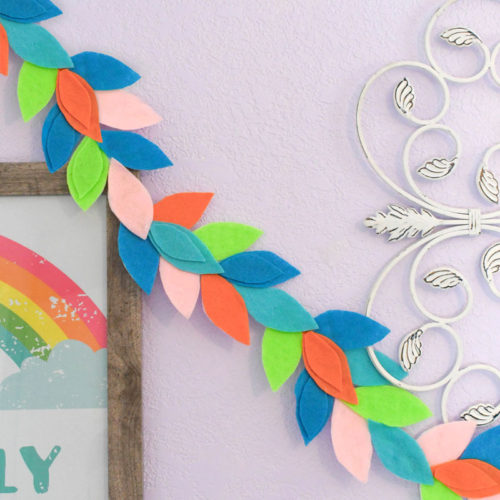 Rainbow Felt Leaf Garland DIY Decor