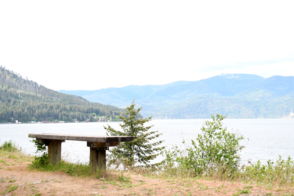 Farragut State Park bench overlooking Lake Pend Oreille near Coeur d'Alene Idaho