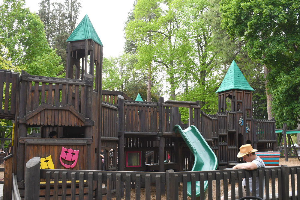 Fun activities for kids in Coeur d'Alene Fort Sherman Wooden Playground