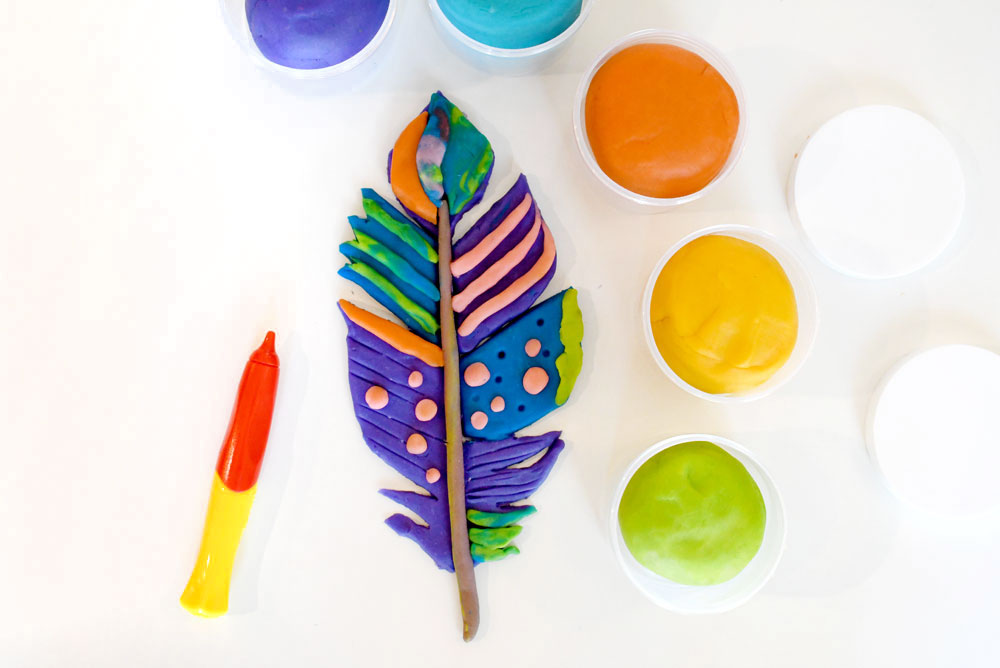 Homemade neon playdough colors feather design