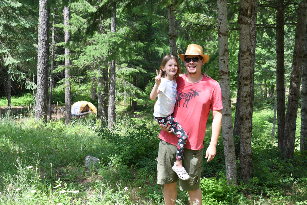 Family camping in a forest Coeur d'Alene Idaho