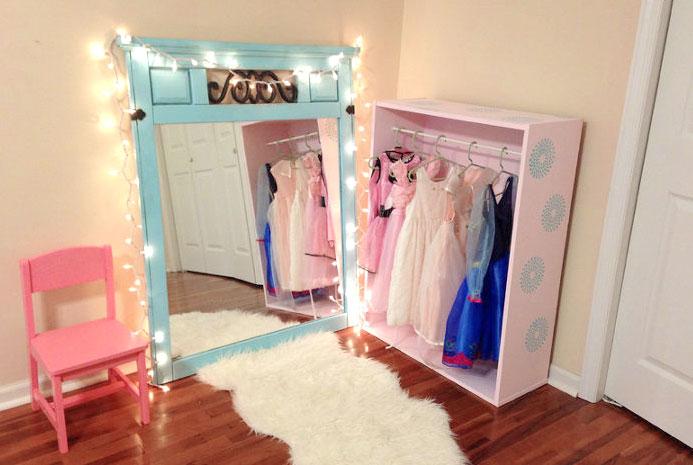 DIY princess closet with lights dress up storage ideas