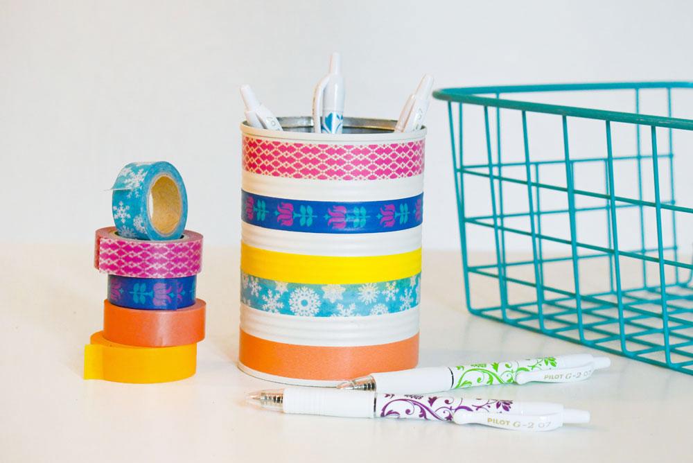 DIY washi tape pencil can