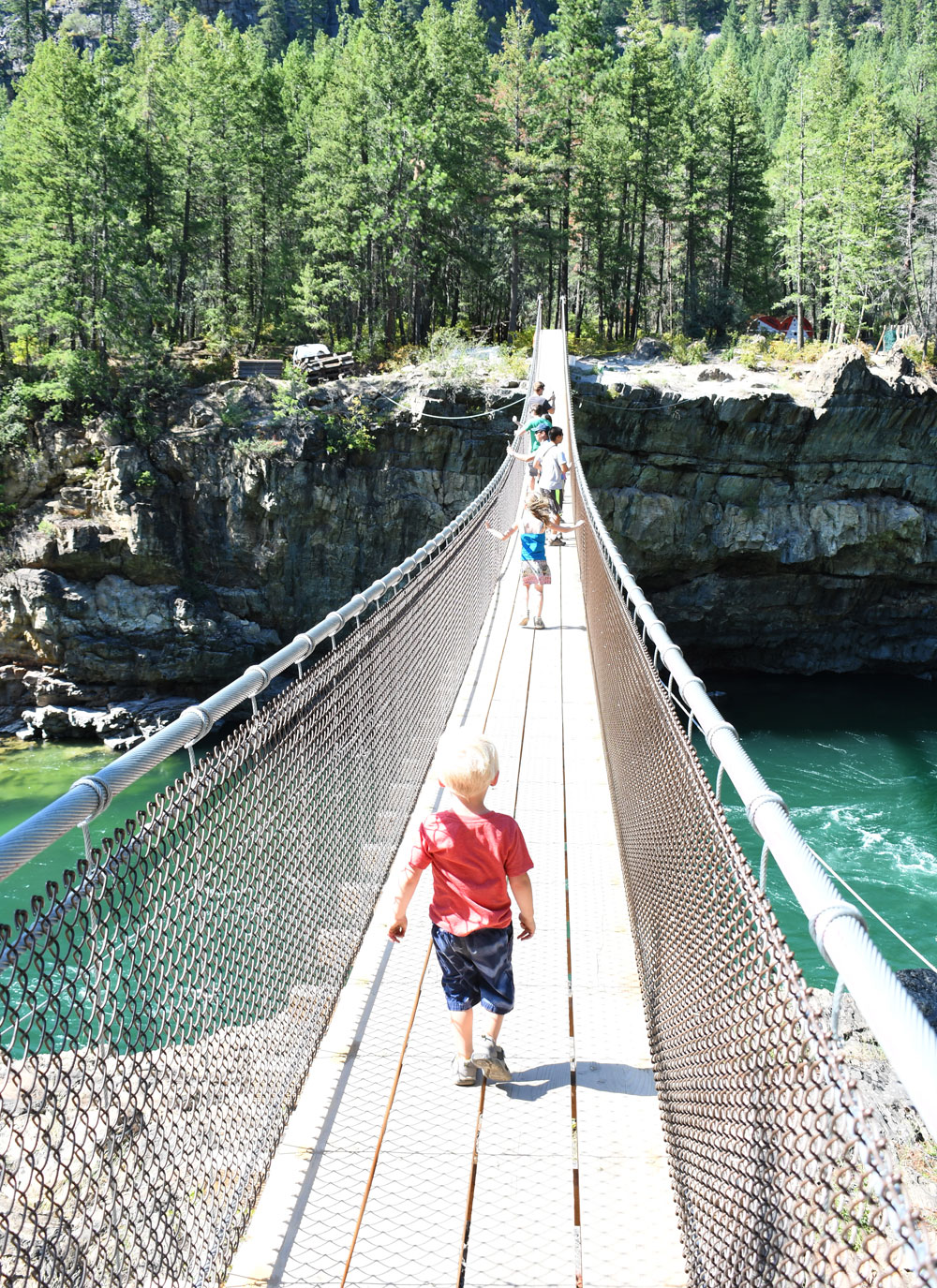 Day trip to Kootenai Falls and Swinging Bridge Montana family adventure