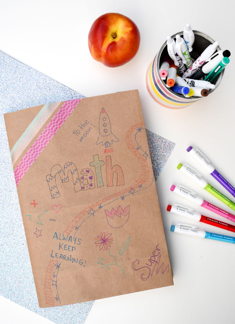 Colorful paper bag book covers