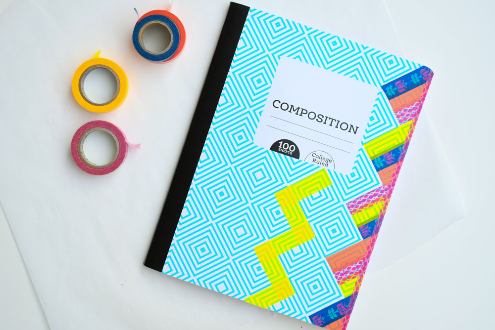 Colorful washi tape notebooks for back to school