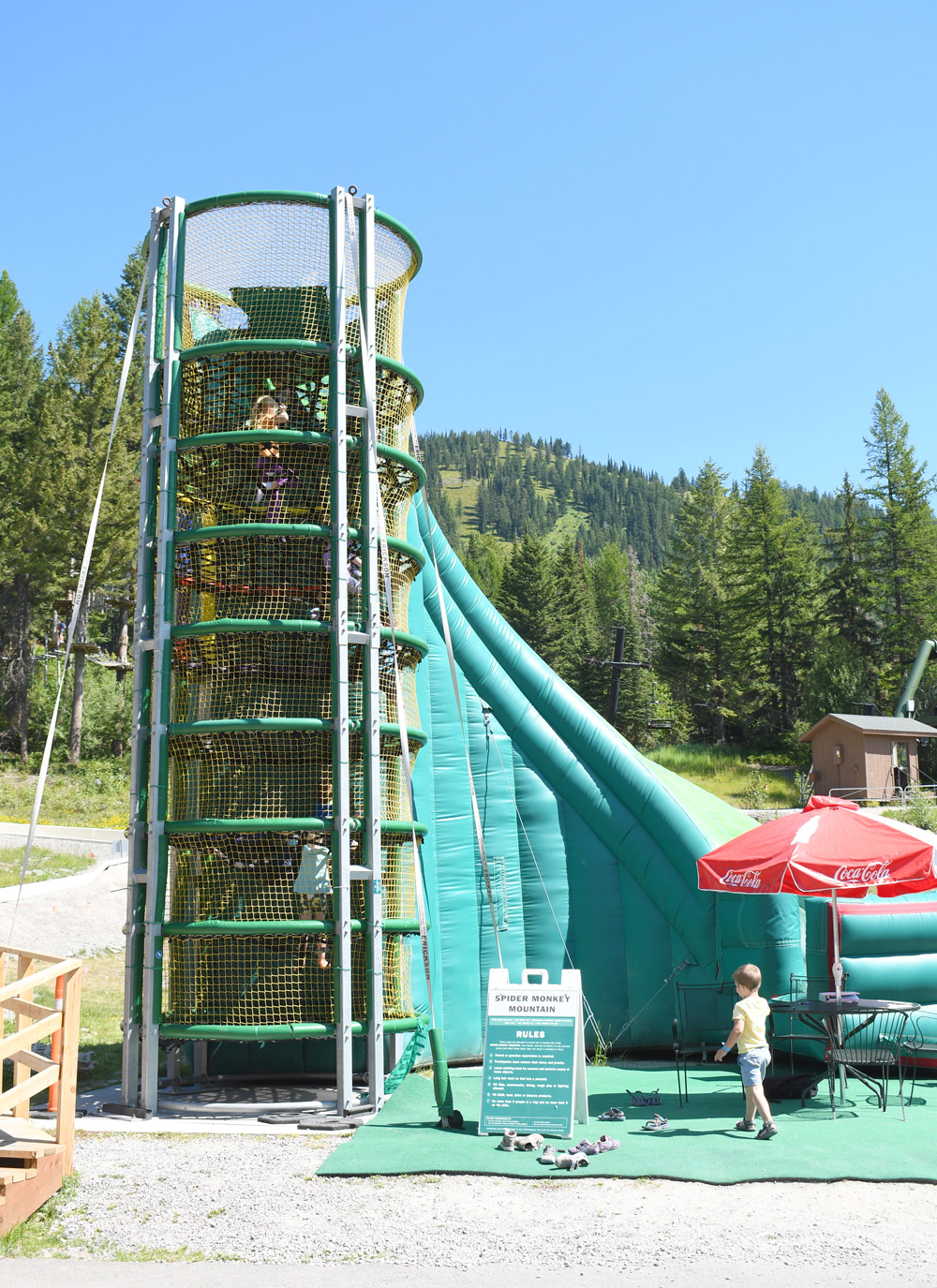 Whitefish Mountain Resort activities Spider Monkey Mountain and tall inflatable slide