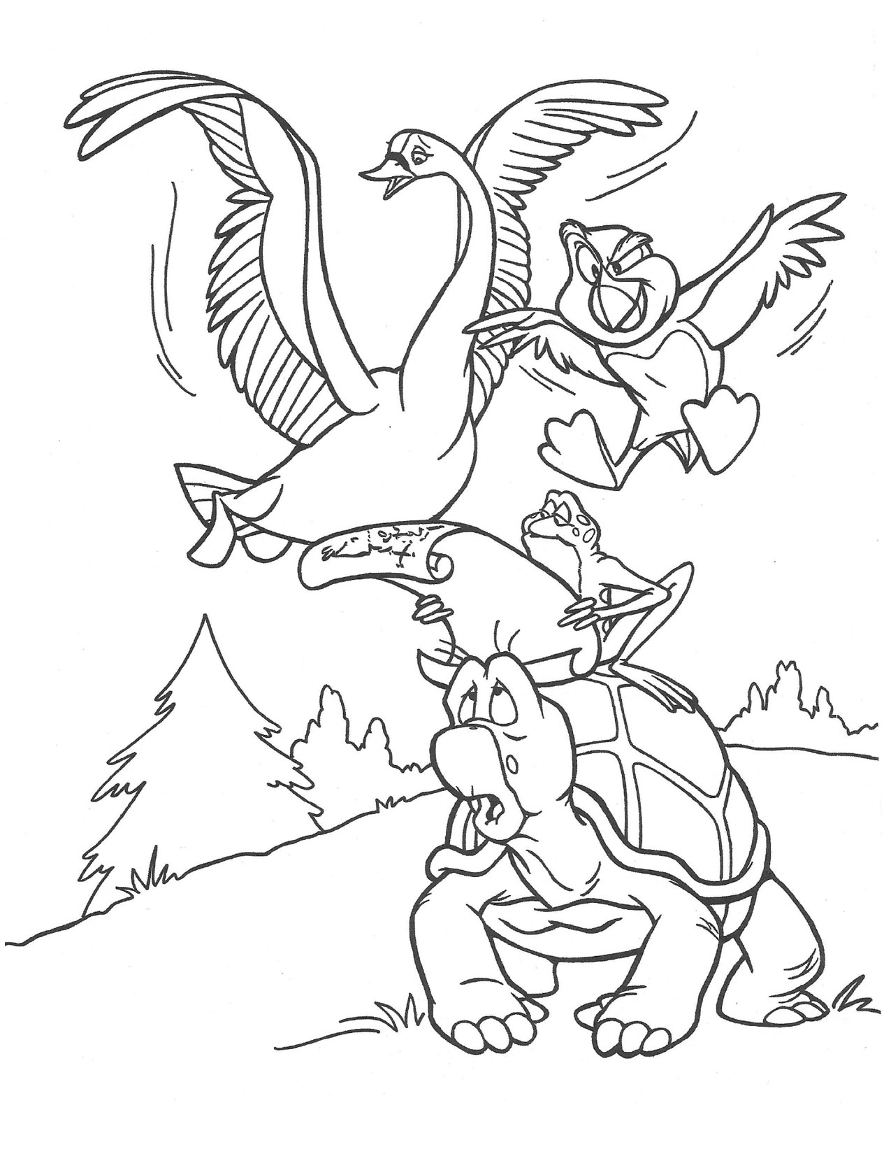 Swan Princess Odette Jean-Bob and puffin coloring page