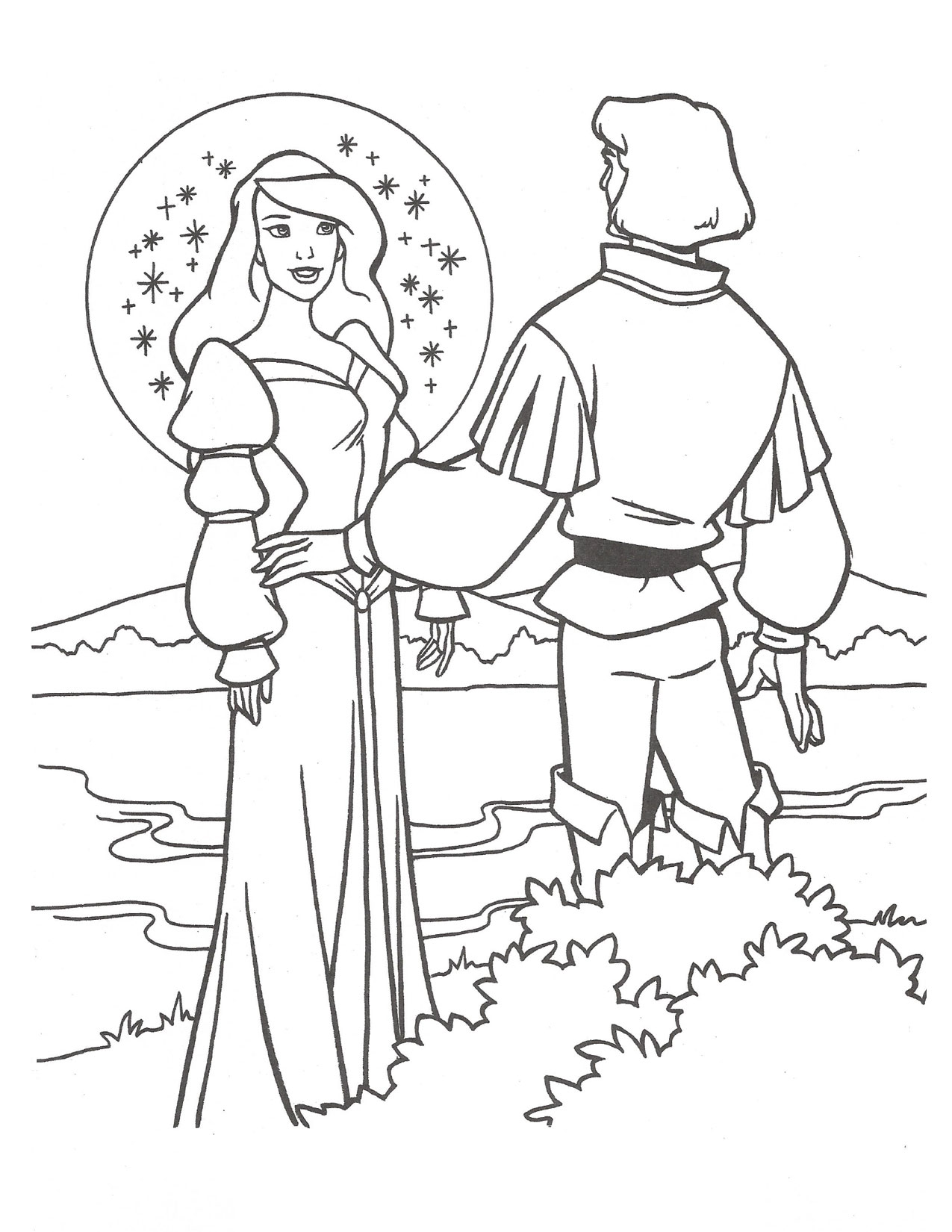 Swan Princess Odette and Prince Derek at the lake coloring page