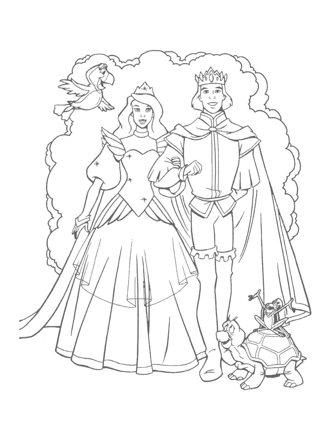 Swan Princess Odette and Prince Derek wedding coloring page