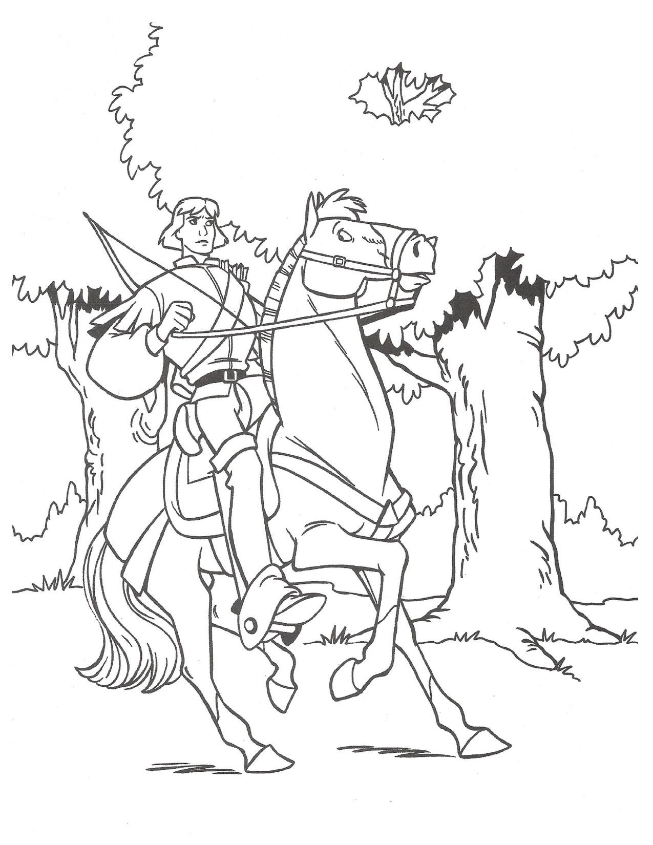 Swan Princess Prince Derek on steed coloring page