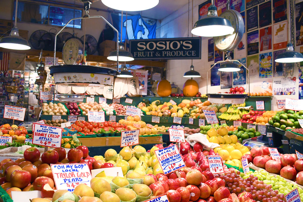 Sosio's Fresh Produce Stand at Pike Place Market Downtown Seattle things to do with kids