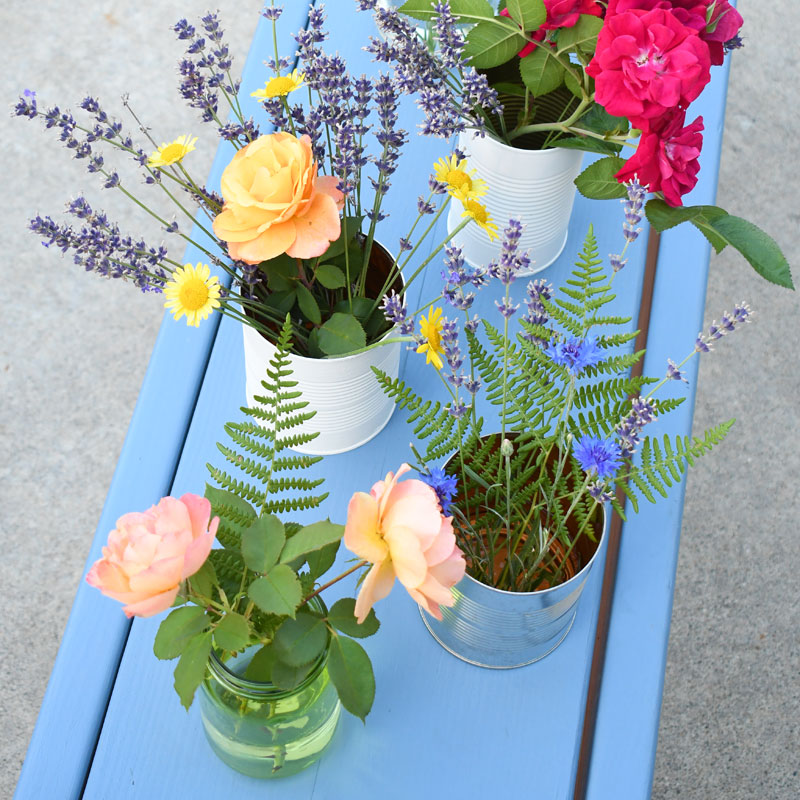 Gorgeous DIY Flower Vases from Cans & Jars