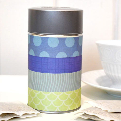 Personalized Tea Storage With Scrapbook Paper