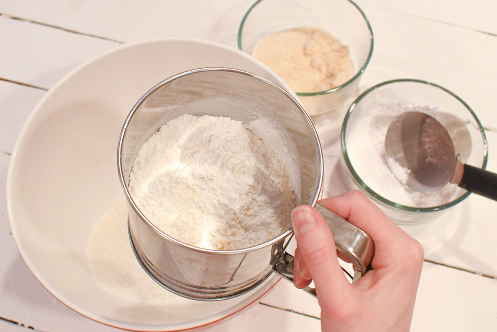 Perfect Homemade Macarons sift the dry ingredients